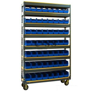Mobile Boltless Shelving with Stackable Storage Bins