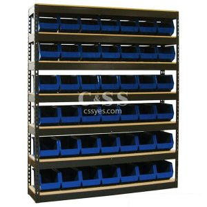Stationary Boltless Shelving with Bin Storage