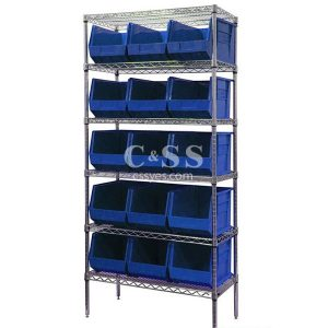 Stationary Wire Shelving with Stackable Bin Storage
